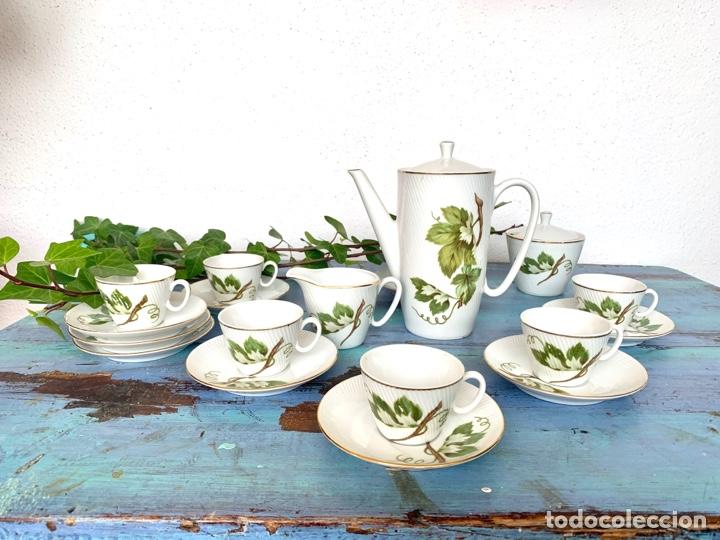 Antigüedades: Antiguo juego de café y bandeja de caña - Foto 3 - 289998758