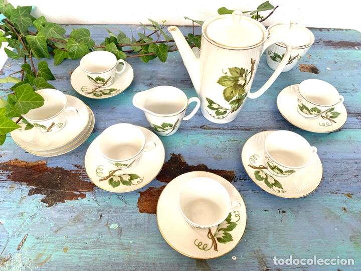 Antigüedades: Antiguo juego de café y bandeja de caña - Foto 4 - 289998758