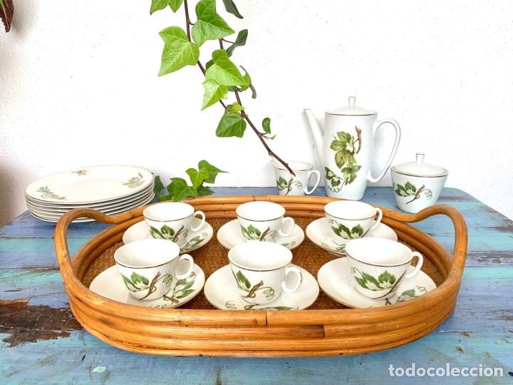 Antigüedades: Antiguo juego de café y bandeja de caña - Foto 5 - 289998758