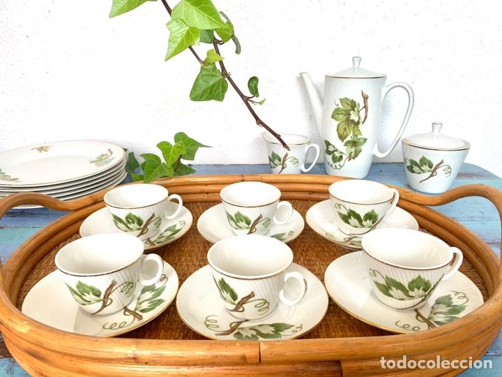 Antigüedades: Antiguo juego de café y bandeja de caña - Foto 6 - 289998758