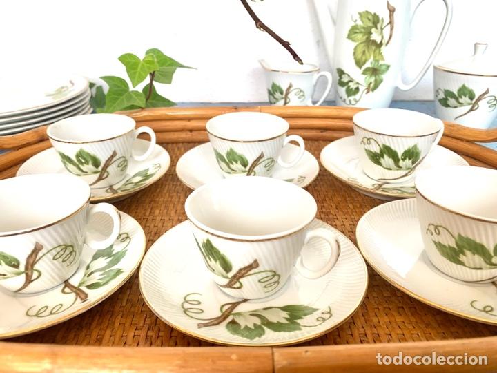 Antigüedades: Antiguo juego de café y bandeja de caña - Foto 8 - 289998758