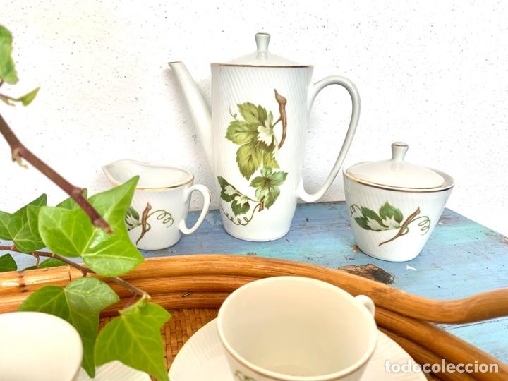 Antigüedades: Antiguo juego de café y bandeja de caña - Foto 9 - 289998758