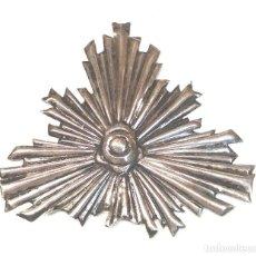 Antigüedades: CORONA RESPLANDOR S XIX PLATA. MED. 9 X 8 CM. Lote 290063543