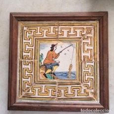 Oggetti Antichi: ANTIGUA BALDOSA CATALANA DE OFICIOS PESCADOR - AZULEJO - CUADRO EMMARCADO. Lote 290644973