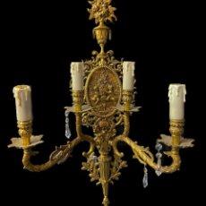 Antigüedades: ANTIGUO CANDELABRO, APLIQUE DE BRONCE ELECTRIFICADO. CASINO MERCANTIL DE ZARAGOZA. 69X40X22. Lote 290929713