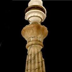 Antigüedades: ANTIGUO PIE DE LÁMPARA DE MÁRMOL ELECTRIFICADO. COLUMNA. 61X14X14. Lote 290930893