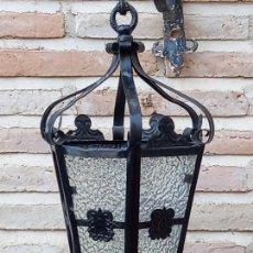 Antigüedades: FAROL ANTIGUO EXAGONAL EN CHAPA,CON CRISTAL GRUESO.. Lote 290984788