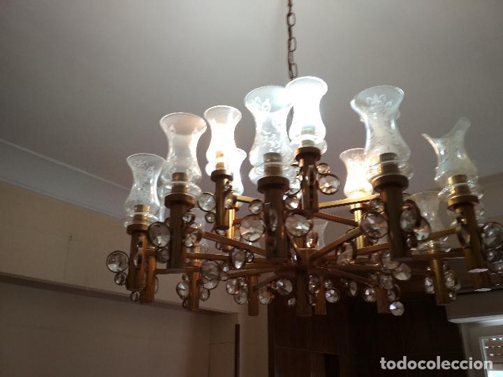 LAMPARA DE TECHO CRISTAL DE ROCA, BASTANTE GRANDE, MIRAR FOTOS (Antigüedades - Iluminación - Lámparas Antiguas)