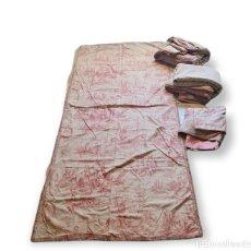 Antigüedades: CUATRO PANELES CORTINAS LINO FORRADAS TOILE DE JOUY. CA 1900. Lote 291169303