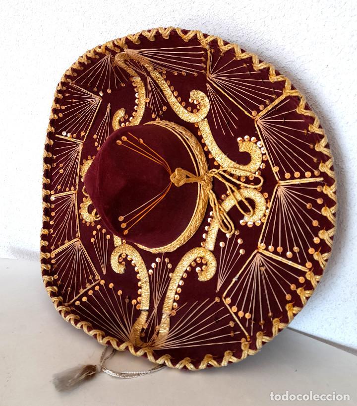 GRAN SOMBRERO MEJICANO CHARRO MEXICO PIGALLE XXXXX TERCIOPELO GRANATE 58 CM (Antigüedades - Moda - Sombreros Antiguos)