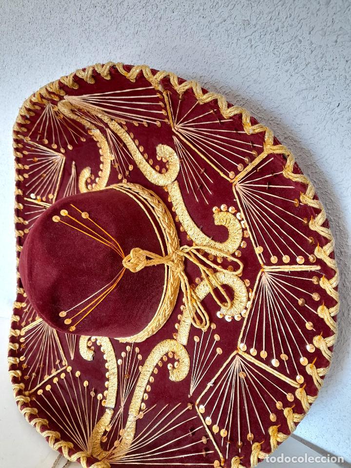 Antigüedades: Gran sombrero mejicano charro mexico Pigalle XXXXX terciopelo granate 58 cm - Foto 4 - 291172193