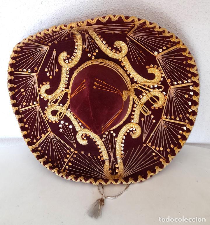 Antigüedades: Gran sombrero mejicano charro mexico Pigalle XXXXX terciopelo granate 58 cm - Foto 6 - 291172193