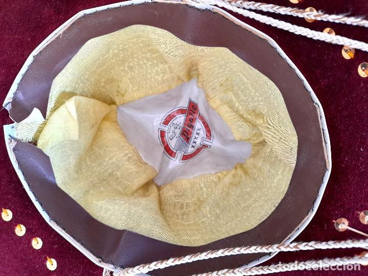 Antigüedades: Gran sombrero mejicano charro mexico Pigalle XXXXX terciopelo granate 58 cm - Foto 9 - 291172193