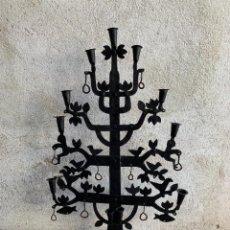Antigüedades: CANDELABRO FORJA 9 LUCES ARBOL PAJAROS AVES SILUETAS MITAD S XX 89X58CMS. Lote 291596163