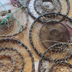 Antigüedades: LOTE 5 ANTIGUOS RETELES RETEL TRAMPA PARA PESCAR CANGREJOS. Lote 291871983