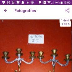Antigüedades: ESPECTACULAR PAREJA DE CANDELABROS VELEROS DE 3 BRAZOS CON FIGURA CABALLO GUERRERO CABALLERO. Lote 292335878