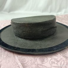 Antigüedades: ANTIGUO SOMBRERO DE PAJA, NEGRO. Lote 293182403