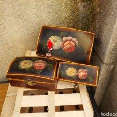 Antigüedades: JUEGO DE COFRES PINTADOS A MANO. Lote 293309088