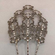 Antigüedades: PEINA DE PLATA CON CIRCONITAS TALLA BRILLANTE. Lote 293444488