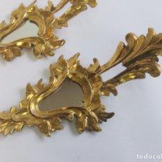 Antigüedades: ANTIGUA PAREJA DE CORNUCOPIAS DE MADERA Y PAN DE ORO. 44 CM.. Lote 293530488