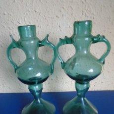 Antigüedades: (CRIS-211000)PAREJARA DE CANDALEBROS VIDRIO SOPLADO. Lote 293560038