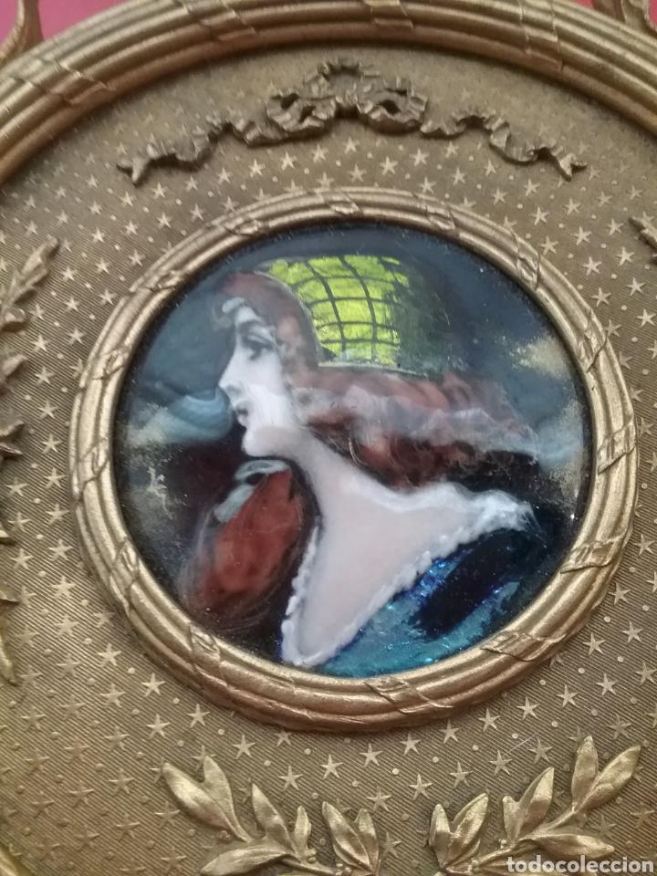 Antigüedades: Espejo de mano con esmalte y en bronce - Foto 3 - 293574633