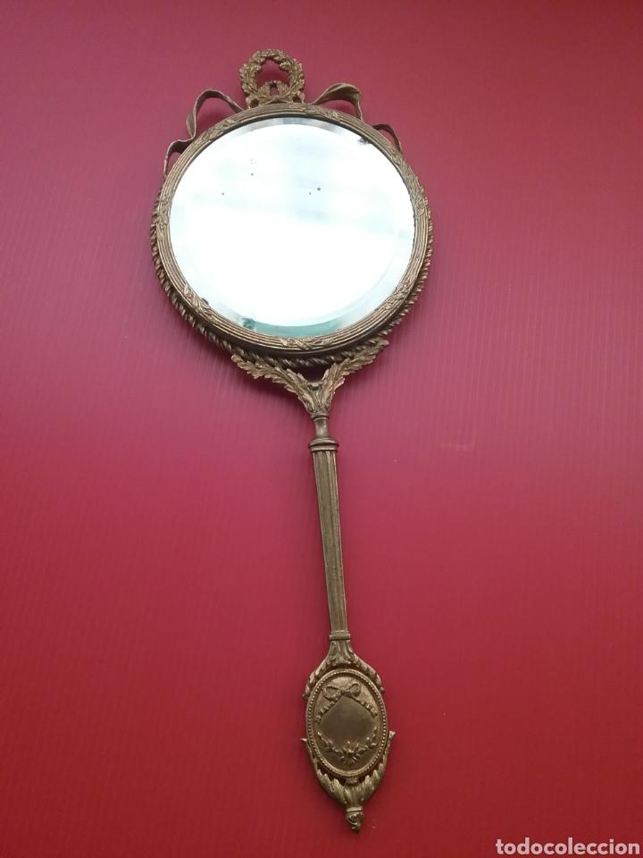Antigüedades: Espejo de mano con esmalte y en bronce - Foto 4 - 293574633