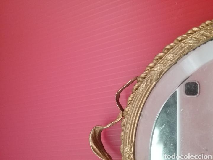 Antigüedades: Espejo de mano con esmalte y en bronce - Foto 6 - 293574633