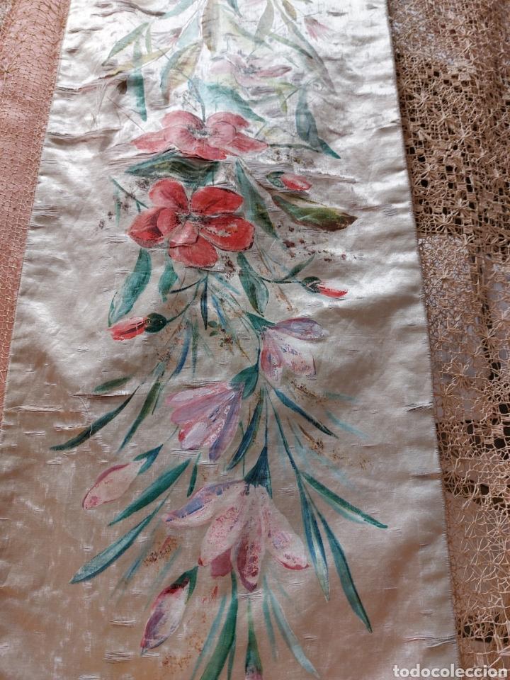 Antigüedades: Antigua colcha seda y encaje - Foto 2 - 293577878