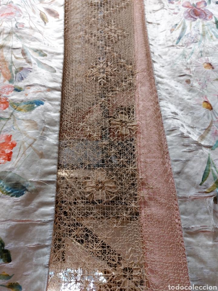 Antigüedades: Antigua colcha seda y encaje - Foto 3 - 293577878