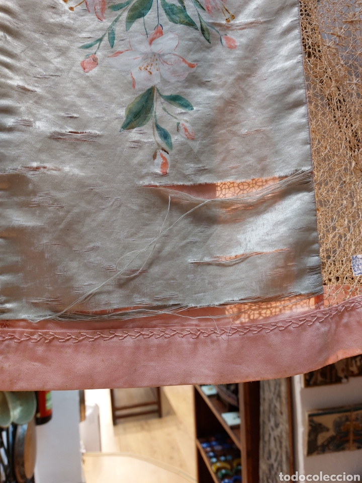 Antigüedades: Antigua colcha seda y encaje - Foto 4 - 293577878