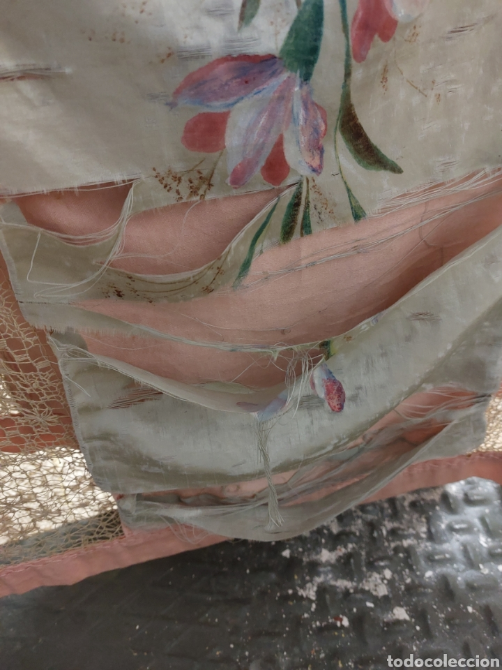 Antigüedades: Antigua colcha seda y encaje - Foto 6 - 293577878