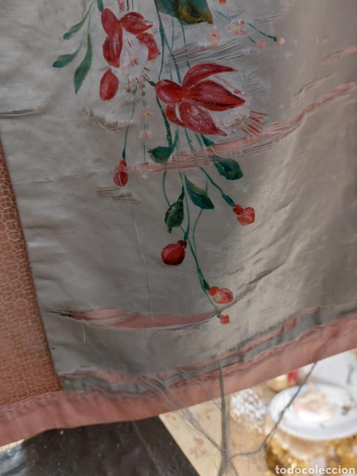Antigüedades: Antigua colcha seda y encaje - Foto 7 - 293577878