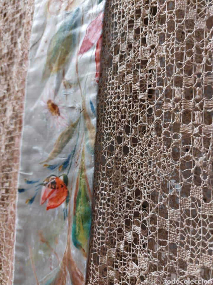 Antigüedades: Antigua colcha seda y encaje - Foto 8 - 293577878