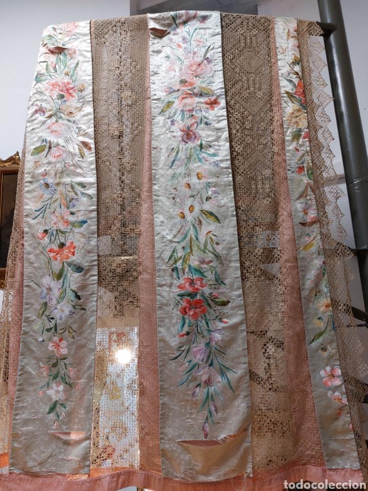 Antigüedades: Antigua colcha seda y encaje - Foto 10 - 293577878