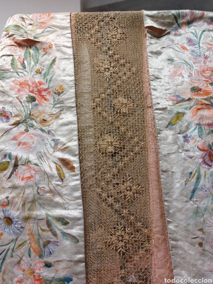 Antigüedades: Antigua colcha seda y encaje - Foto 11 - 293577878