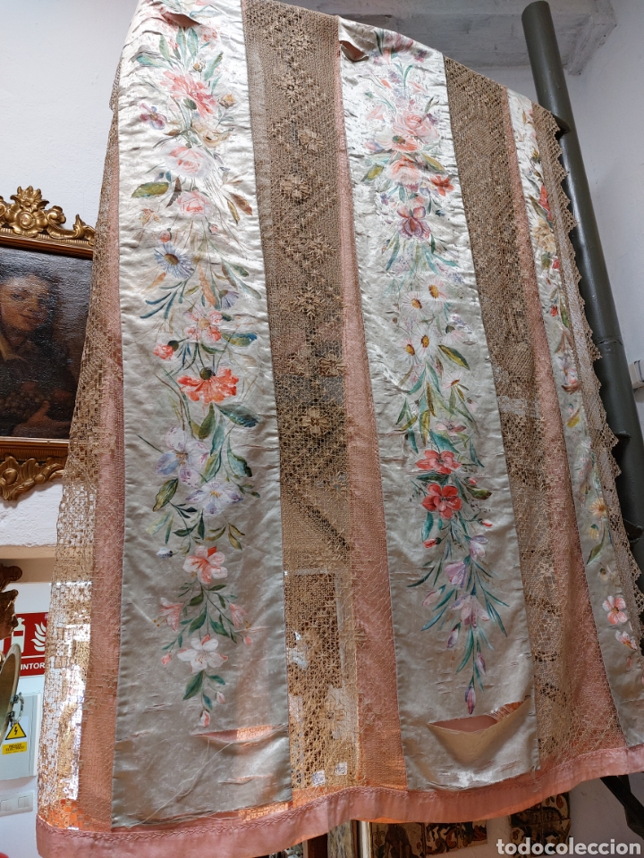 ANTIGUA COLCHA SEDA Y ENCAJE (Antigüedades - Moda - Encajes)