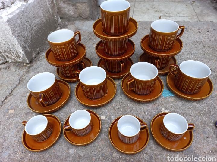 Antigüedades: Juego de tazas de cafe y chocolate de porcelana italiana - Foto 3 - 293595918