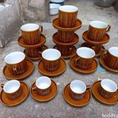 Antigüedades: JUEGO DE TAZAS DE CAFE Y CHOCOLATE DE PORCELANA ITALIANA. Lote 293595918
