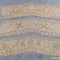 Antigüedades: TIRAS DE ENCAJE DE MANO (TRES). Lote 293609068