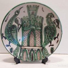 Antigüedades: ANTIGUO PLATO DE CERÁMICA TUROLENSE / DOMINGO PUNTER / 31 CM Ø X 5 CM ALTO / PERFECTO / FIRMADO.. Lote 293737373