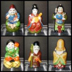 Antigüedades: BUDAS ORIENTALES - DE LA SUERTE Y LA FORTUNA - JAPON C. 1960 - PINTADOS A MANO - SELLADOS. Lote 293899953