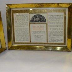 Antigüedades: CONJUNTO DE SACRAS LITURGICAS ESCRITAS EN LATÍN ENMARCADAS CONSERVAN SU COLORIDO. Lote 293902728