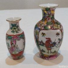 Antigüedades: BONITA PAREJA DE JARRONCITOS PEQUEÑOS CHINOS MACAU. Lote 293916673