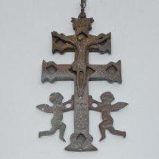 Antigüedades: MAGNIFICA CRUZ DE CARAVACA EN BRONCE DE BUEN TAMAÑO,S.XVIII. Lote 293976068