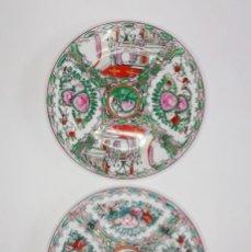 Antigüedades: BONITA PAREJA DE PLATOS, PORCELANA DE MACAU. 26 CM.. Lote 293991058