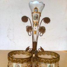 Antigüedades: ANTIGUO CENTRO PERFUMERO MODERNISTA - ART NOUVEAU , CON 3 RECIPIENTES , SIGLO XIX. Lote 294088138