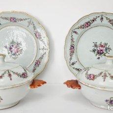 Antigüedades: PAR DE SOPERAS CON TAPAS Y BANDEJAS PORCELANA CHINO CHINA QIANLONG. Lote 294377853