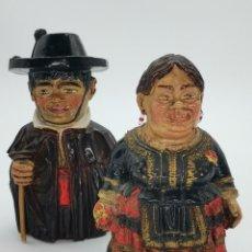 Antiguidades: CURIOSA PAREJA DE ANTIGUAS FIGURAS. GITANILLOS DE BURGOS. 17 CM.. Lote 294444733