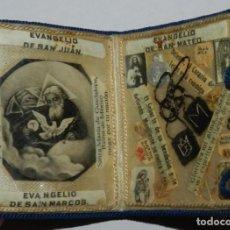 Antigüedades: ANTIGUO CUADERNILLO TIPO ESCAPULARIO, CON RELIQUIAS EN SU INTERIOR, EVANGELIO DE SAN JUAN, SAN MARCO. Lote 294551058